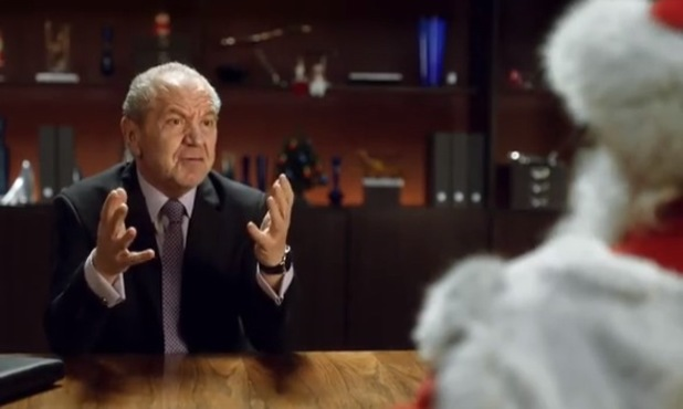 Lord Alan Sugar shares his business advice with a special Apprentice - Father Christmas - 24 December 2013