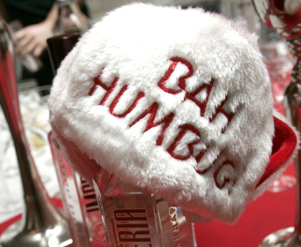 Bah Humbug Santa hat - visitors to the Humbug Club in Clacton, Essex, are not allowed to mention Christmas