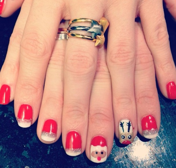 Ashley James' festive nails, painted by sister Joelle James, Intrim Hair Design, Haltwhistle, 22 December 2013