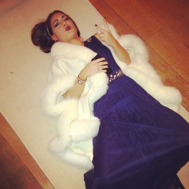 Made In Chelsea's Louise Thompson lays on the floor in a ball gown - 23 December 2013