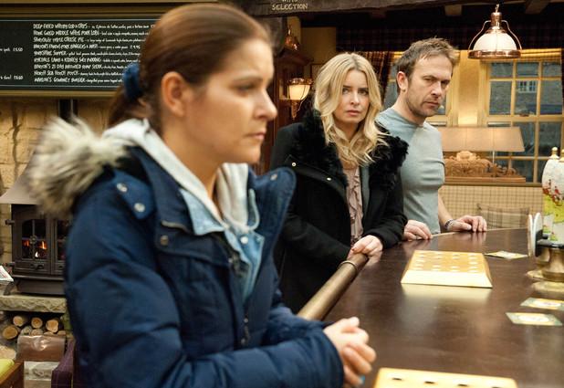 Emmerdale, Charity and Declan see Rachel, Mon 6 Jan