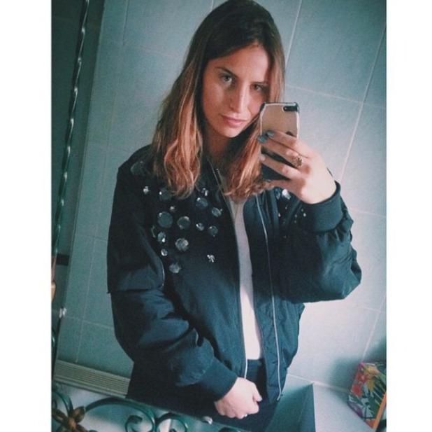 Ferne McCann selfie in new jewel-studded bomber jacket, 29 December 2014