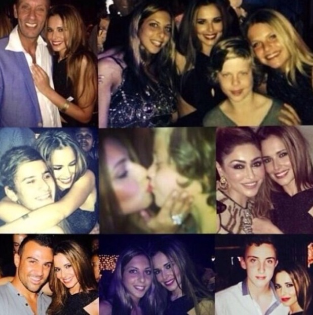 Cheryl Cole celebrates the New year with friends and mystery kiss. Writes hand-written note to fans too. 1.1.2014