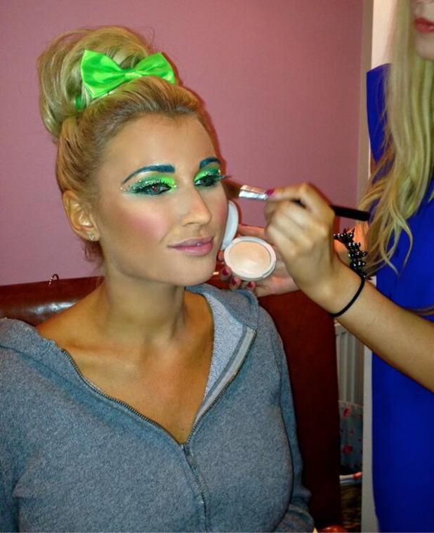 Billie Faiers has her Tinkerbell make-up done for Sam Faiers' Disney-themed birthday party, 1 January 2014