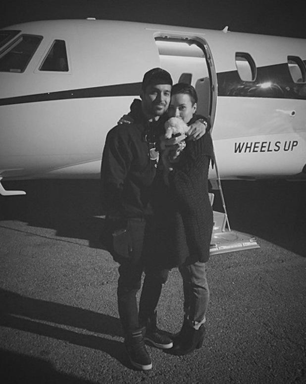 Demi Lovato and boyfriend Wilmer Valderrama, dog Buddy on Christmas Eve 29 December