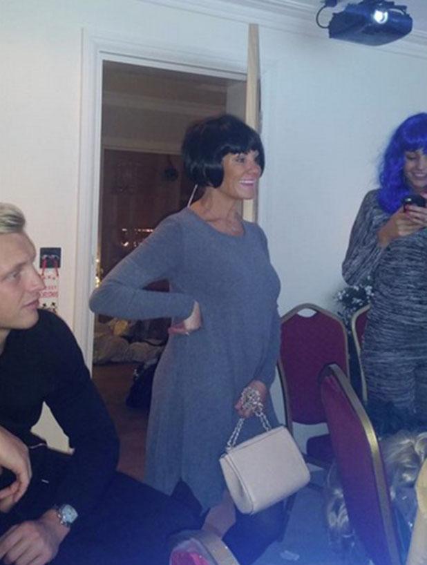 Carol Wright wearing wig on Christmas Day, 25 December 2014