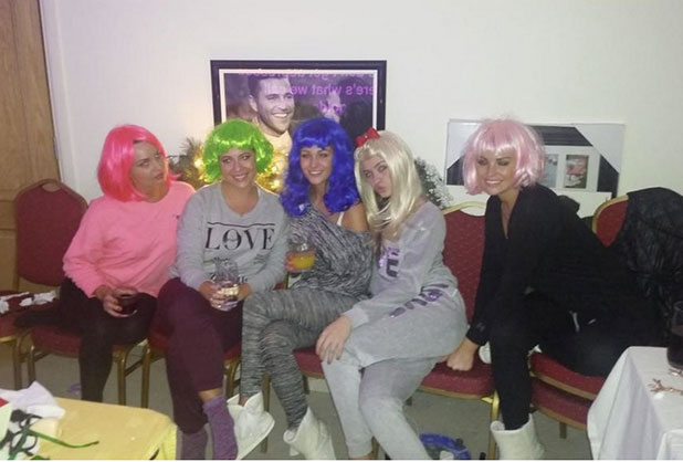 Michelle Keegan and Jessica Wright wearing wigs on Christmas Day, 25 December 2014