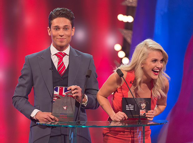 Joey Essex and Ashley Roberts present award for Best New Comedy Show at British Comedy Awards 16 Dec 2014