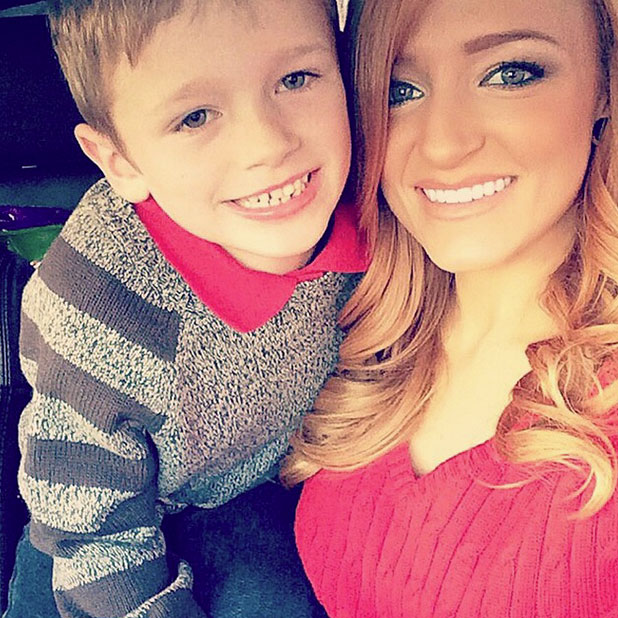 Teen Mom star Maci Bookout with her son Bentley, December 2014