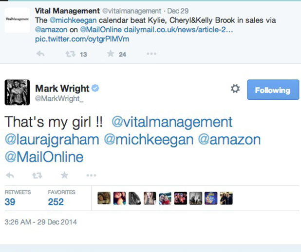 Mark Wright tweets delight at Michelle Keegan's best-selling celebrity calendar, December 2014