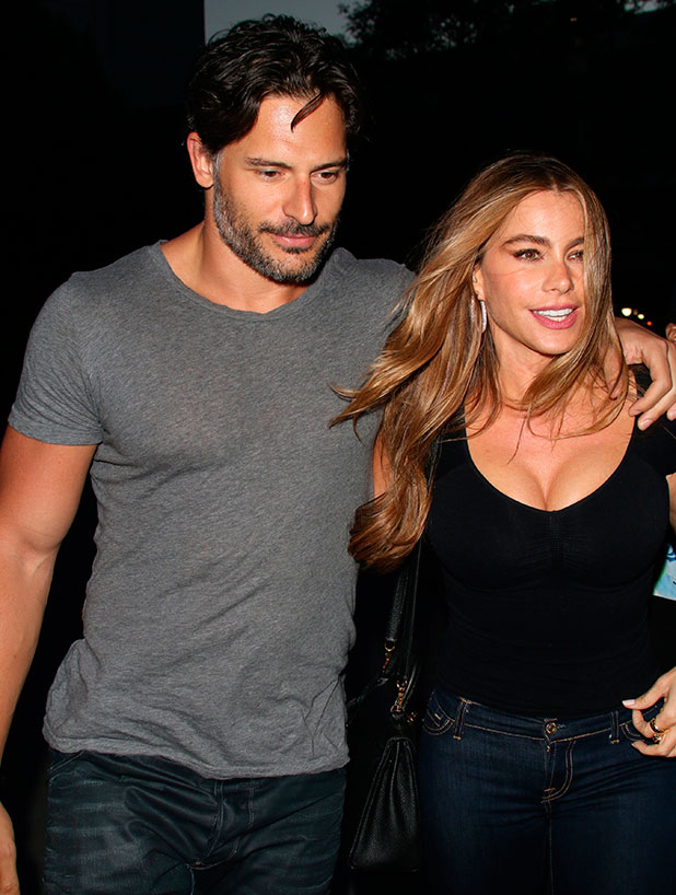 Sofia Vergara and Joe Manganiello arrive at the Staple Center for the Justin Timberlake concert, LA, August 2014