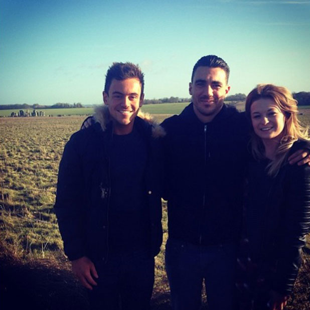 Tom Daley visits Stonehenge with friends, 2 January 2014
