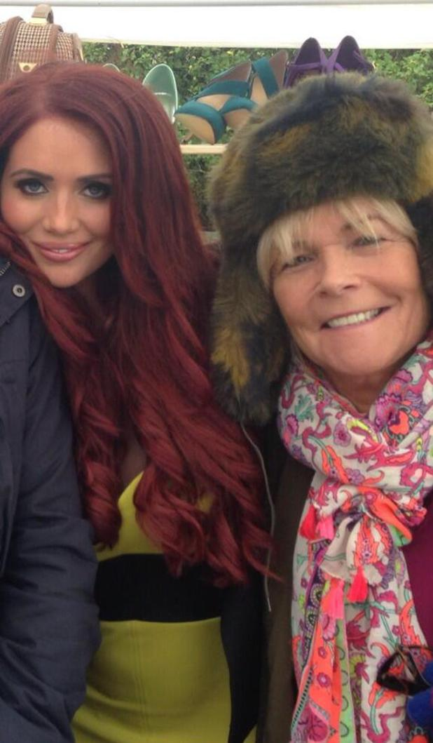 Amy Childs with Tracey Stubbs played by Linda Robson on the set of Birds of a Feather. Episode to air: 9 January 2014.