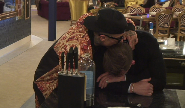 Channel 5's Celebrity Big Brother housemates - January 2014 Lee Ryan breaks down in tears, Dappy consoles him.
