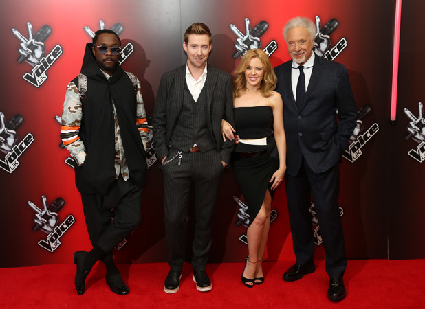 Kylie Minogue, Ricky Wilson, Tom Jones, Will.i.am at The Voice UK red carpet launch in London, 6 January 2014