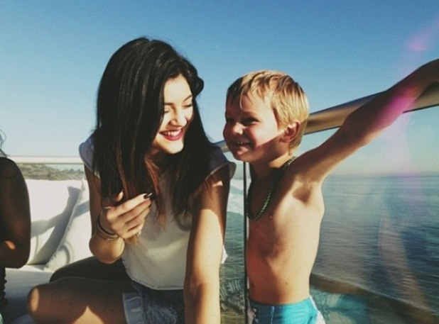 Kylie Jenner hangs out with cute little boy - January 2014