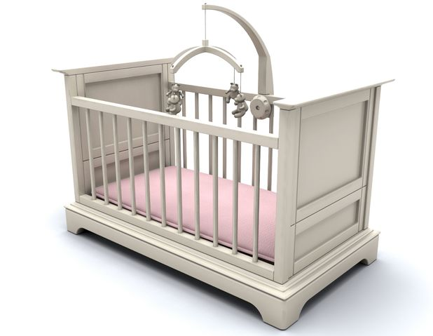 VARIOUS 3D render of a cot for a baby girl 2010s