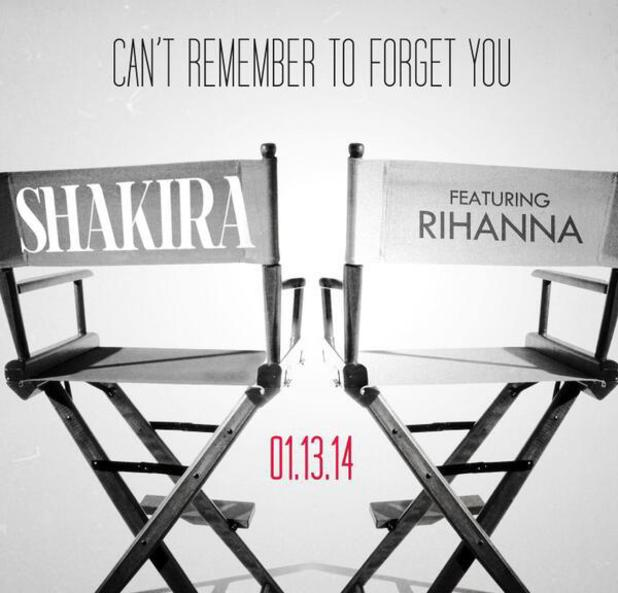 Shakira unveils artwork for new single with Rihanna called: 'Can't Remember To Forget You'.