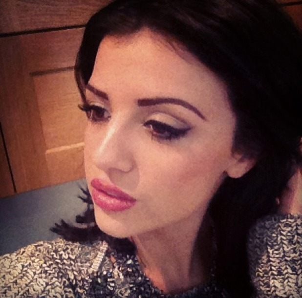 Lucy Mecklenburgh has eyebrows tattooed at Tracie Giles, London, 6 January 2013