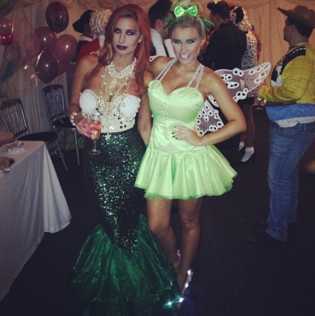 Ferne McCann dresses up as Ariel from The Little Mermaid for Sam Faiers' Disney themed birthday party - 1.1.2014 With Billie Faiers as Tinkerbell.