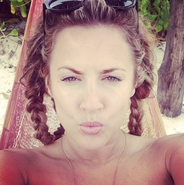 Caroline Flack takes a selfie on holiday in Mexico. (5 January 2014).