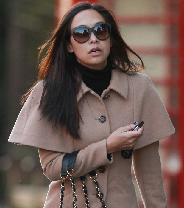 Myleene Klass looking tired while out and about with her daughter, Hero near her home - 10 January 2014