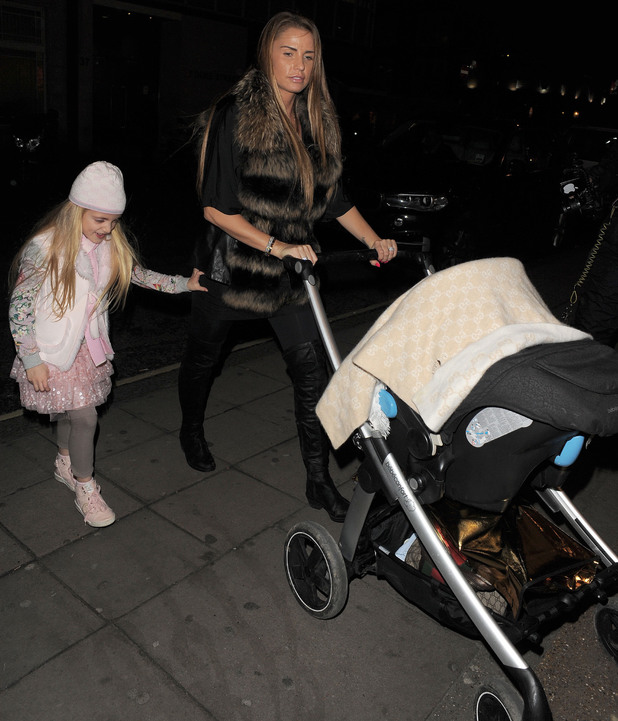 Katie Price visits Novikov restaurant in Mayfair with Princess and baby Jett - 9 January 2014