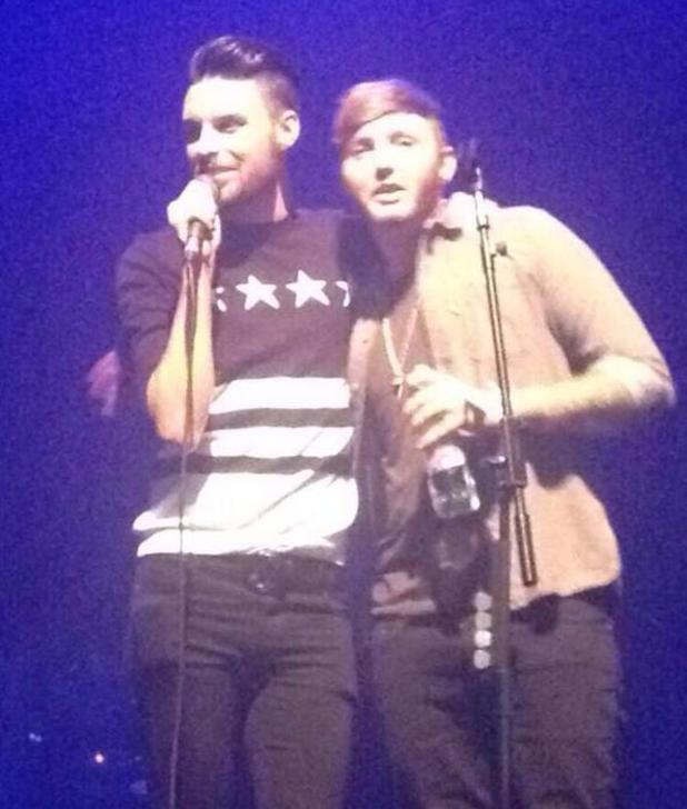 Rylan Clark hangs out with James Arthur at his gig in Southend and joins him on stage.