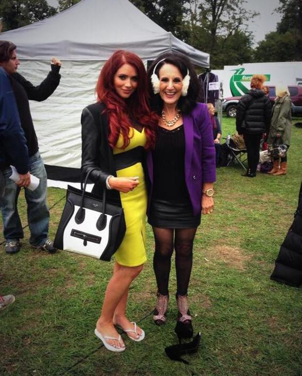 Amy Childs with Dorien Green played by Lesley Joseph on the set of Birds of a Feather. Episode to air: 9 January 2014.