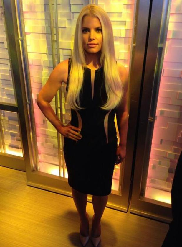 Jessica Simpson poses backstage before going on Good Morning America.