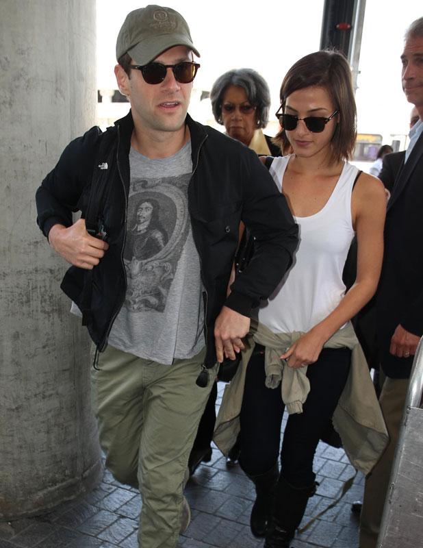 Justin Bartha and Lia Smith at LAX airport, 21 May 2013