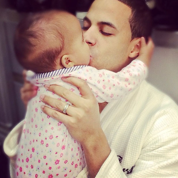 Rochelle Humes shares photo of husband Marvin kissing their daughter Alaia-Mai, January 2013