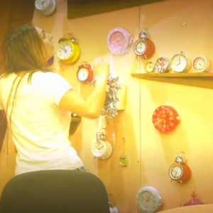 Luisa Zissman attempts to stop the alarm clocks from ringing in the 'most annoying room in the world' in Celebrity Big Brother.