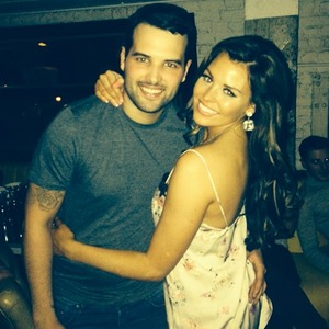 Jessica Wright and Ricky Rayment pose in Mark Wright masks for Mark's 27th birthday, 17 January 2014