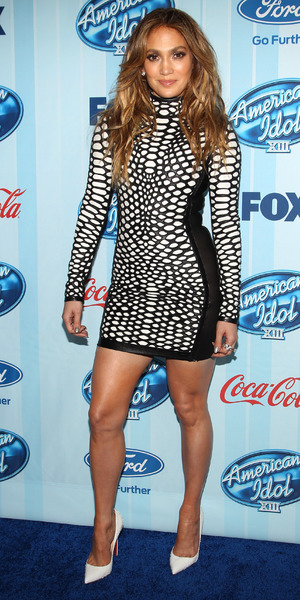 Jennifer Lopez wears figure hugging black and white mini dress at American Idol XIII event - 14th January 2014, Westwood, United States