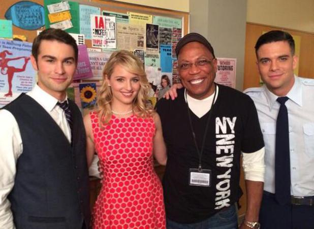 Chace Crawford, Dianna Argon, TV producer Paris Barclay and Mark Salling filming for Glee's 100th episode. (14 January 2014).