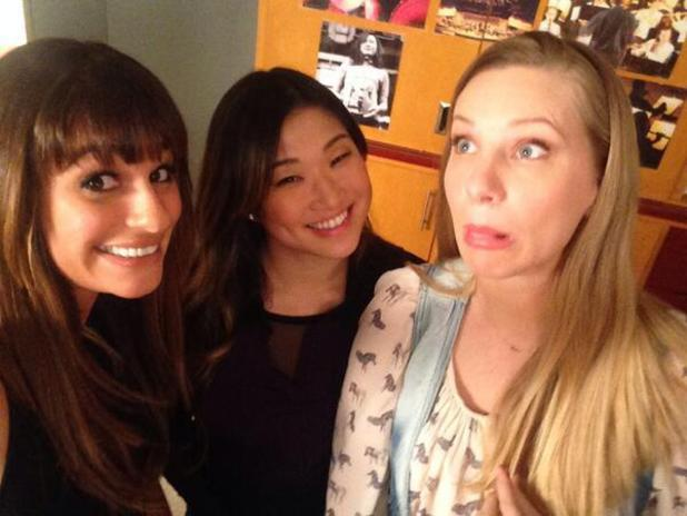 Glee's Lea Michele poses with Heather Morris and Jenna Ushkowitz while filming 100th episode - 15 Jan 2014