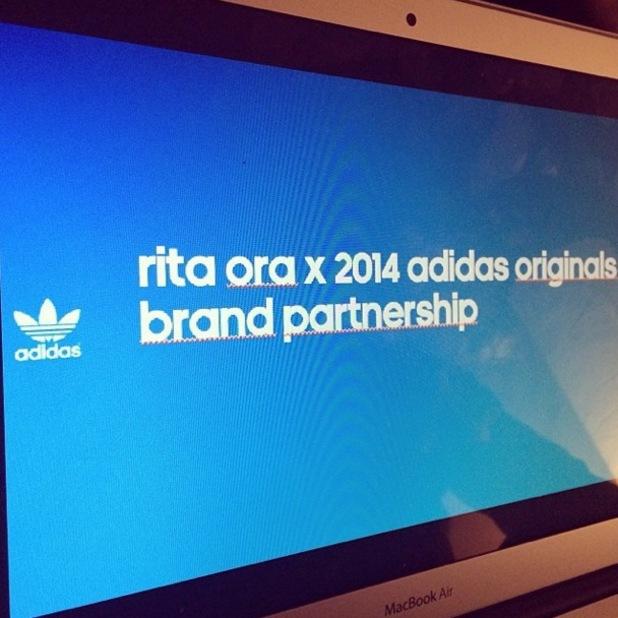 Rita Ora posts an Instagram snap saying: 'rita ora x adidas originals brand partnership', 12 January 2014