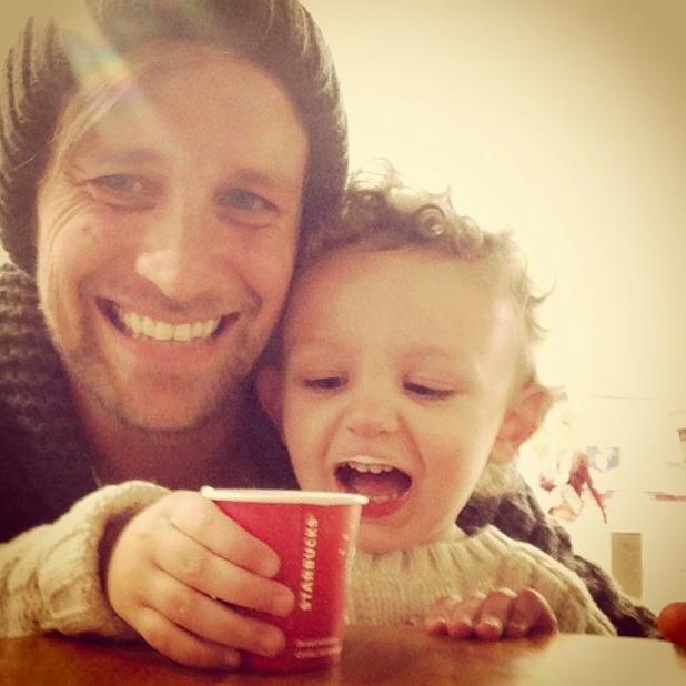 Kian Egan shares photo of son Koa enjoying his first Starbucks! 17 January 2014