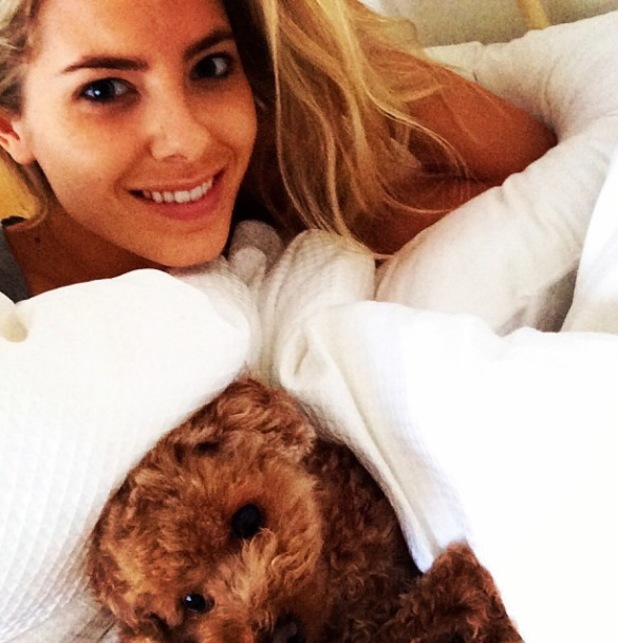 Mollie King in bed with pet dog Alfie - 17.1.2014
