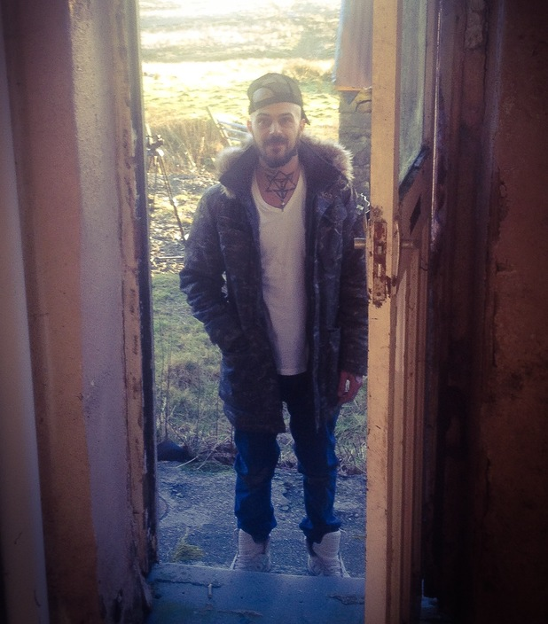 Abz Love in Wales, where he is currently renovating a derelict cottage - 14 Jan 2014