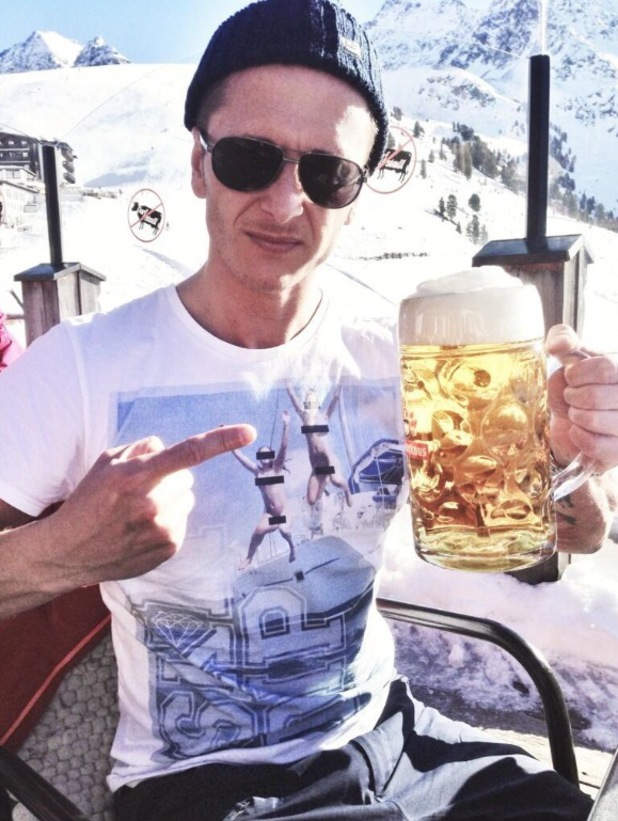 5ive's Ritchie Neville drinks a massive beer in the French Alps - 13 June 2014