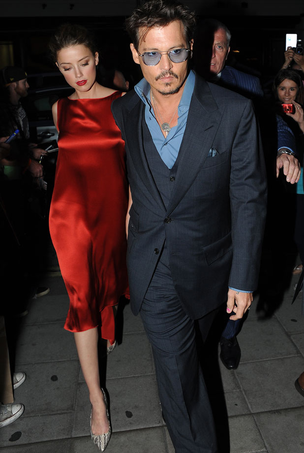 Johnny Depp and Amber Heard Arrive at Cipriani Restaurant in London for dinner after the Lone Ranger Premiere in London, 21 July 2013