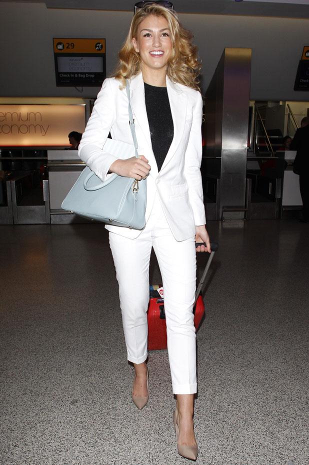 Amy Willerton at Heathrow airport, London, Britain - 13 Jan 2014