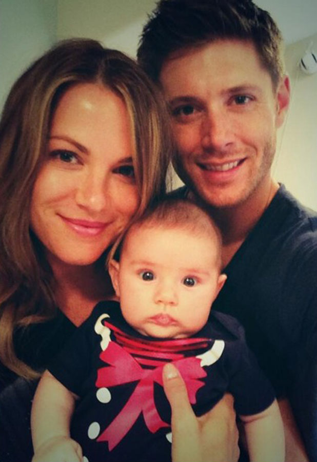 Jensen Ackles and wife Danneel pose with their daughter Justice Jay, August 2013