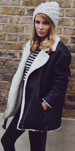 Millie Mackintosh in cosy Miss Selfridge jacket
