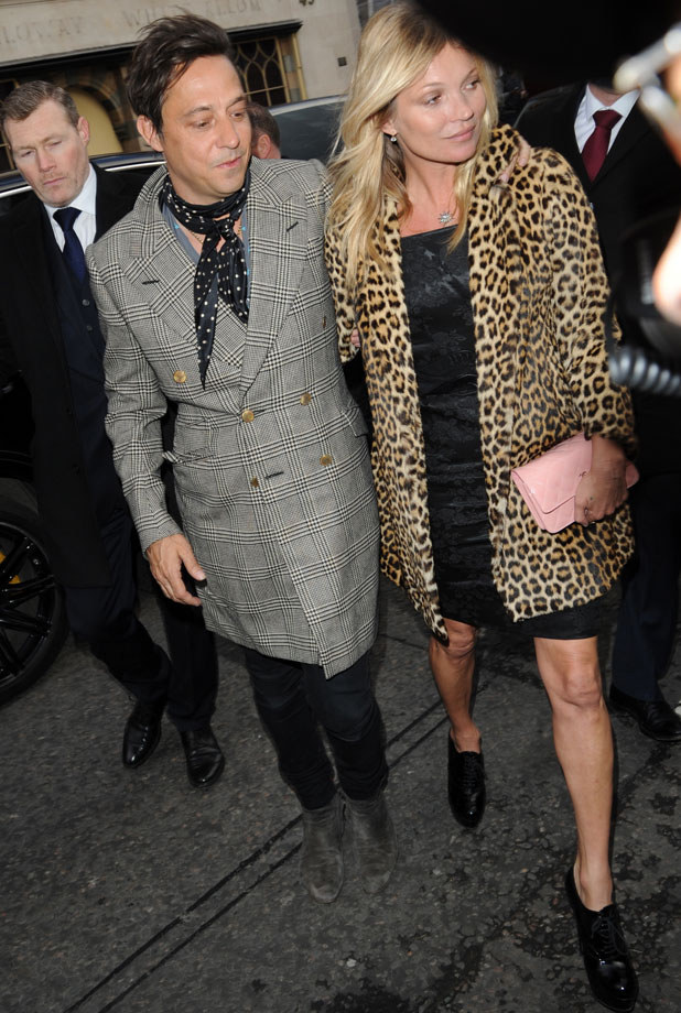 Kate Moss and Jamie Hince arrive at a restaurant for Kate's 40th Birthday, 16 January 2014