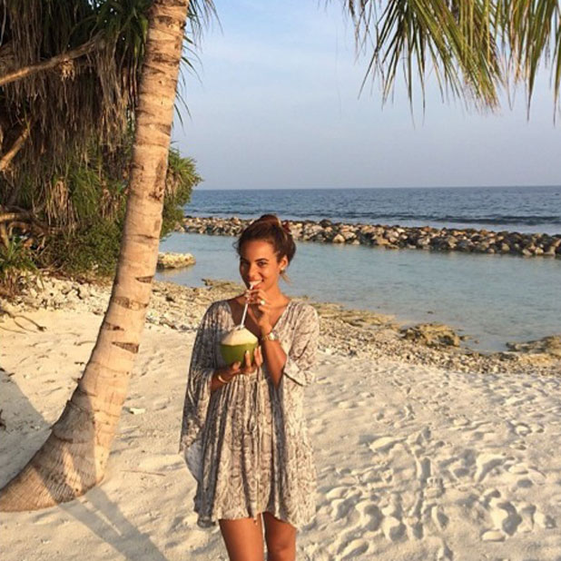 Rochelle Humes posts throwback picture from her New Year's holiday to The Maldives, 11 January 2014