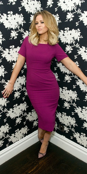 Kimberley Walsh poses in a purple dress from her edit for very.co.uk at Soho Hotel - London, 20th January 2014