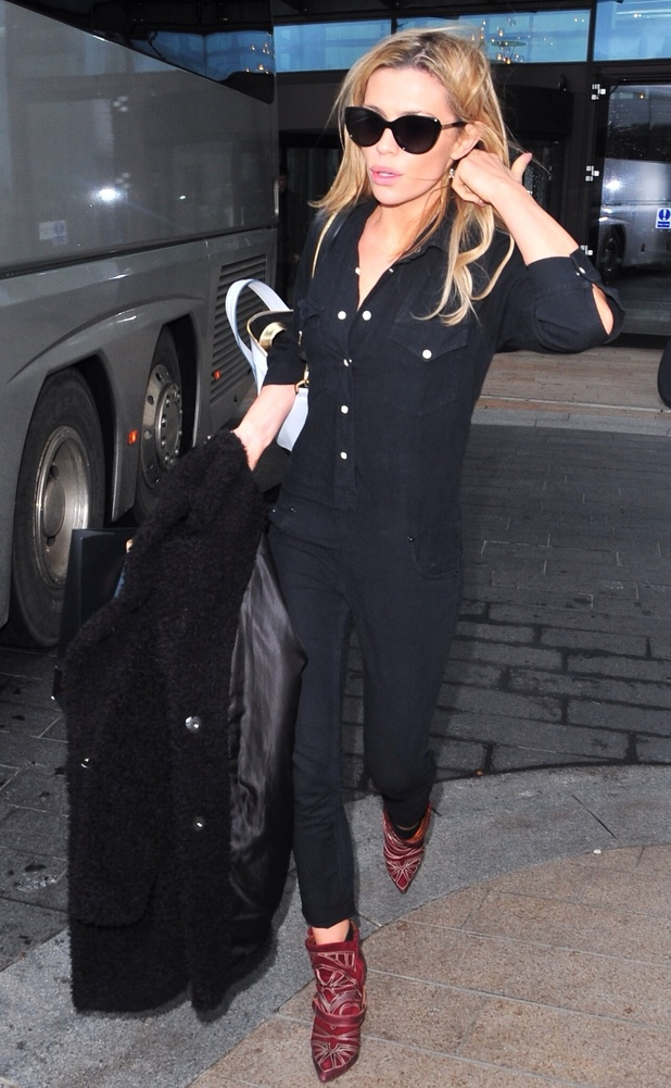 Abbey Clancy arriving in Liverpool ahead of the Strictly Come Dancing tour 1/23/2014. Liverpool, United Kingdom.